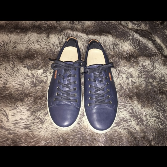 Mens Echo Navy Blue Leather Sneakers